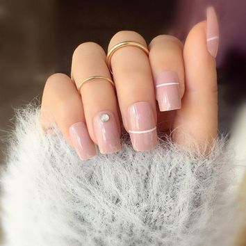 24pcs/set Cream nude pink pure color 3D fake nails Cute french false nails  with Sided adhesive Middle-long full nail tips Bride