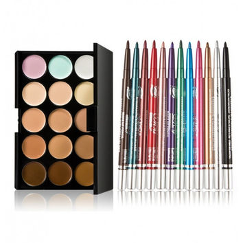 15-color Concealer + MY701-000 12pcs Colorful Professional Eyeshadow Pens Set