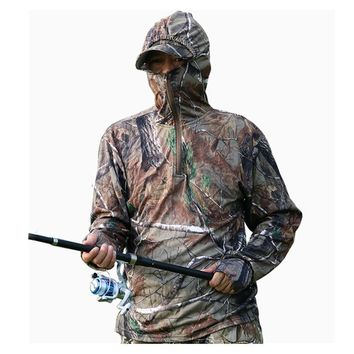 Summer Cotton Leaf Bionic Camouflage Hunting Shirt Pants Outdoor Climbing Fishing Bird Watching Hoodie Sunscreen Breathable Suit