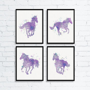 Equestrian Girls Art, Watercolor Horse, Horse Art, Equestrian Decor, Western Art, Girls Room Decor, Baby Girl Nursery, Cowgirl Decor, Purple