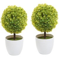 Set of 2 Artificial Faux Potted Tabletop Yellow Flower Plant Topiary w/ White Planter Pots - MyGift Home