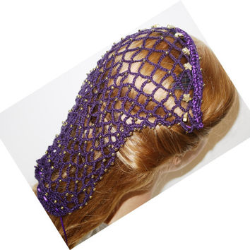 Deep Purple, ribbon Hair Snood, Borgias Renaissance inspired, gold  beads,reenactment,Renaissance faire ,Costume, headdress, Medieval,SCA