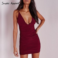 Simplee Apparel 2016 new summer sexy party strap women dress Sleeveless deep v neck bodycon dresses Backless girl dress vestidos