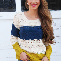 Autumn Trio Sweater {Navy + Mustard}
