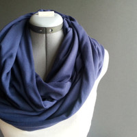 Heather Blue Jersey Blue Infinity Scarf, Loop Scarf Circle scarf