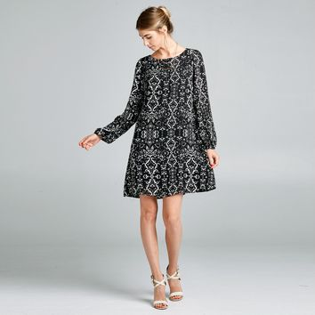 Damask Crepe Shift Dress