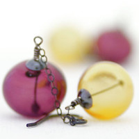Hollow glass earrings Purple and yellow