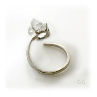 "RING ""Energy""  with Diamond crystal, Sterling Silver, Hammered, Forged. Handmade. Organic and Rustic in style."
