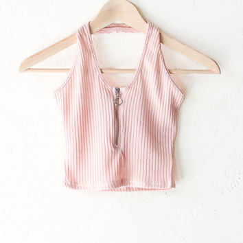 Zip It Halter Crop Top - Peach