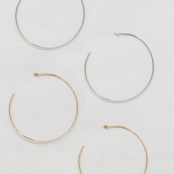 Pack of 2 Extra Large 90mm Fine Hoop Earrings at asos.com