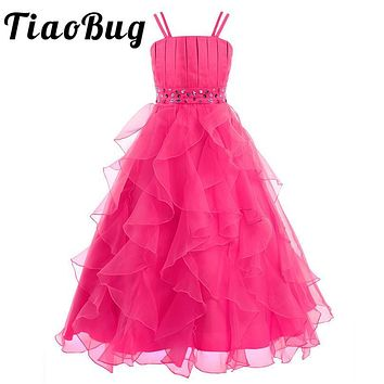 TiaoBug First Communion Dresses Elegant Sequined Flower Girls Dresses Princess Party Pageant Formal Prom Gown Ankle Length Dress