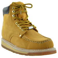 Mens Boots Double Layer Rubber Sole Work Hiking Padded Shoes Tan