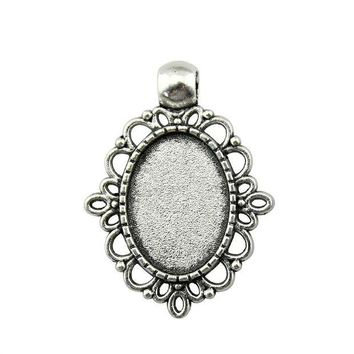 ac spbest 10pcs 13*18mm Inner Size Vintage Antique Bronze, Antique Silver Color Zinc Alloy Cameo Cabochon Base Setting DIY Jewelry Finding