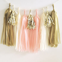Paper Garland & Metallic Mini Tassels - 20 Tassel DIY Kit - Blush Pink Ivory Gold Foil - Wedding Decor Party Bridal Shower Baby Birthday