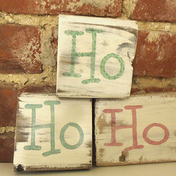Ho Ho Ho Christmas decor-Rustic wood Christmas decoration-Wood block signs-Primitive Christmas decor-Mantel Christmas decoration