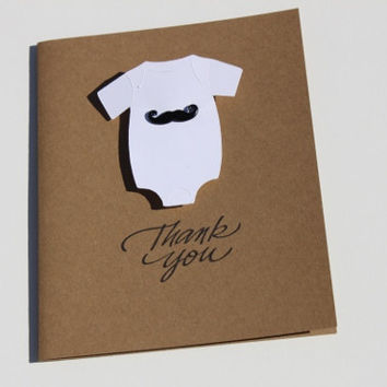 Mustache Baby Shower Thank You Cards