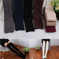 2016 New Arrival Fashion Cotton Women Knit Over Knee Thigh Stockings High Pantyhose Tights '8' Style Pattern Free Shipping