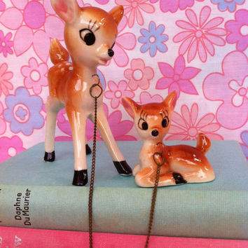 Kitsch, Bambi figurines!! Cute, vintage deer and fawn family - mother doe and baby!