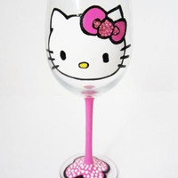 Hello Kitty Wine Glass with Pink Rhinestones - 20 oz