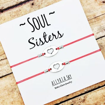 "Heart Friendship Bracelet Set with ""Soul Sisters"" Card 