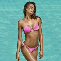 Velvet Bikinis 2017 Sexy Ladies Low Waist Swimwear Halter Swimsuit Micro Bottons Tied Rope Woman One Set Brazilian Bikini