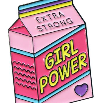 Girl Power Milk Carton Enamel Pin