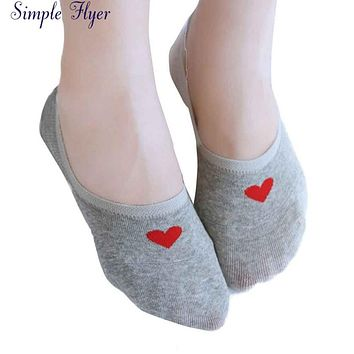 SIF Women Boat Socks Women Candy-colored heart-Shaped Cotton Invisible Socks AGU 04