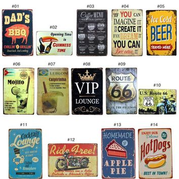 Vintage Metal Tin Sign Cake Dessert Hamburger Europe Retro Plaque Poster Bar Pub Club  Home Decor 20x30 cm