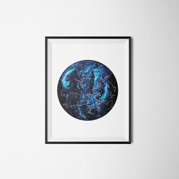 Constellation Galaxy Printable Art - Constellation Geometric Minimalist Instant Download - Zodiac Print
