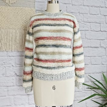 Vintage 1980s Chunky Knit + Stripe Sweater