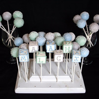 6 Baby Block Cake Pops - personalized with name, letters, numbers - for Baby Showers, Newborns, & Birthday favors