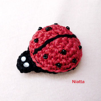 Ladybug Brooch Beaded Brooch Crochet Pin Applique Jewelry Amigurumi Niatta