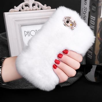 Luxury Rabbit Fur Phone Cases For iPhone 7, iphone 6, iphone 6s Plus, SE 5, iphone 5s