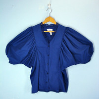 Vintage Blue Blouse / 1980s Batwing Navy Blue Poet Blouse Shirt