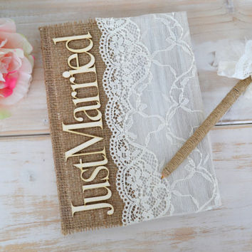 Guest Book Rustic Wedding Guestbook  Advice Book Burlap Lace Wedding Book Wedding Just Married Guest book Notebook Country Decoration