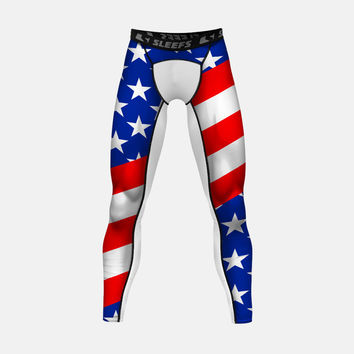 USA America Flag Compression Tights / Leggings