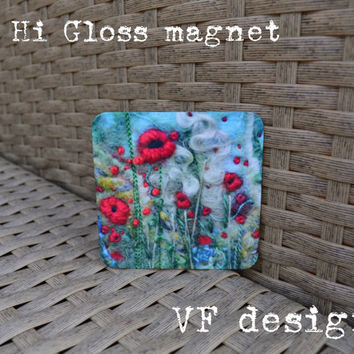 Colourful Metal Hi Gloss magnet poppies