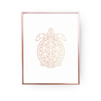 Turtle Print, Rose Gold Foil, Geometric Turtle, Turtle Art, Animal Poster, Turtle Wall Art, Nursery Print, Animal Art, Bedroom Art, Aqua Art