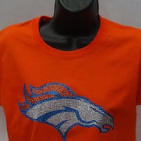 Denver Broncos Super bowl sparkle glitter bling t-shirt women