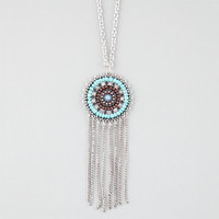 Full Tilt Turquoise Medallion Fringe Necklace Silver One Size For Women 25178114001