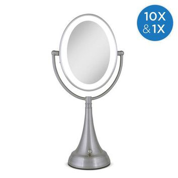 Zadro Cordless Dual-Sided LED Lighted Oval Vanity Mirror 1X/10X