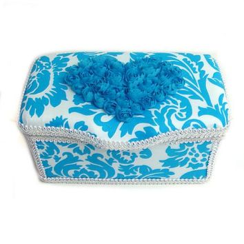 Turquoise & White Damask Heart Roses Nursery Baby Wipes Case for Room