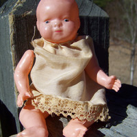 "Antique Celluloid Doll--4 1/2"" Baby Doll--Strung Arms and Legs--Vintage Toy Collectible"