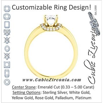 Cubic Zirconia Engagement Ring- The Jennifer Elena (Customizable Emerald Cut featuring Saddle-shaped Under Halo)