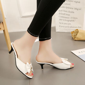 DoraTasia 2017 sexy med thin heels slip on woman mules pumps sweet bowtie peep toe dating shoes women