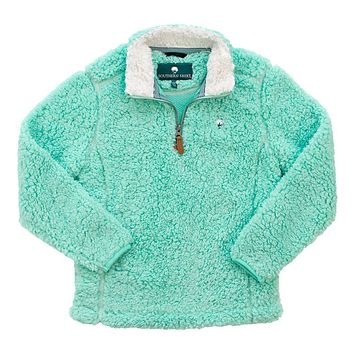 YOUTH Sherpa Pullover with Pockets in Aqua Sky by The Southern Shirt Co. - FINAL SALE