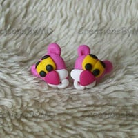 pink panther stud earrings polymer clay fimo handmade