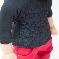 "Black lace front top for American Girl and other 18"" dolls"