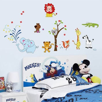 Animal kindergarten party can remove room decorate bedroom setting wall adornment wall stickers SM6