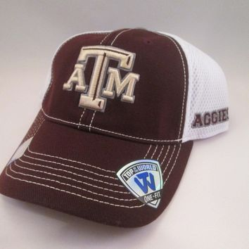 Texas A&M Aggies Top of The World Fitted Hat w/ Mesh